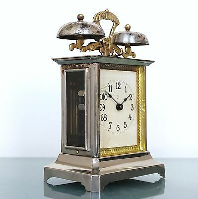 Antique German PFEILKREUZ CLOCK Alarm/Mantel TOP! RARITY! Carriage Brass Chrome!