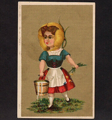 Charlotte Perkins Gilman c 1881 Young Girl Yellow Poppy Milkmaid Victorian Card