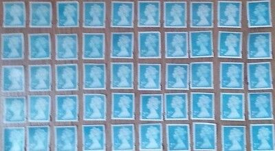 50 UNFRANKED  2nd CLASS STAMPS OFF PAPER NO GUM F/V £30.50