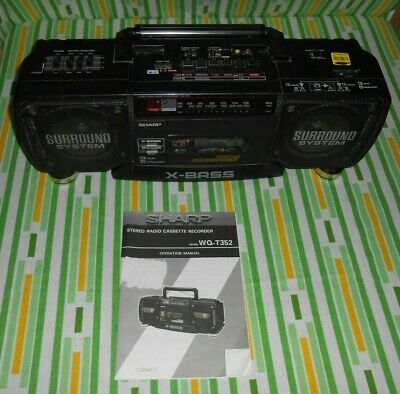 Vtg. Sharp X-Bass WQ-T352 Boombox Stereo Duel Cassette Surround w/ Owners Manual