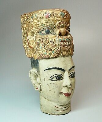 """Vintage Bali Indonesia Temple Post Head Carved Polychrome Wood 8"""" High"""