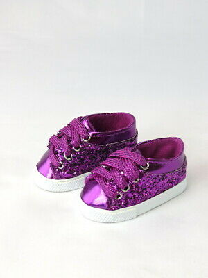 Bitty Baby silver sequin glitter sneakers fit  American Girl dolls NIP