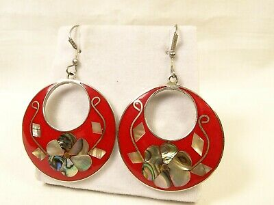 "Nice Large Double Circle Abalone MOP Red Enamel Hook Alpaca Silver 1.5"" Earrings"