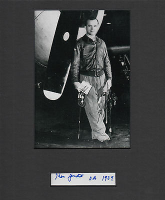 Flying Tigers Ken Jernstedt WWII Ace 10.5 Victories SIGNED CUT MATTED with PHOTO