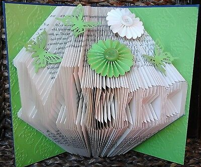 Folded Book Art Personalised Any Name Apple Green Plain/Embellished 24 Colours