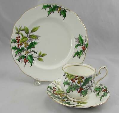 Royal Albert Holly no12 Flower Of The Month Trio Cup, Saucer & Plate