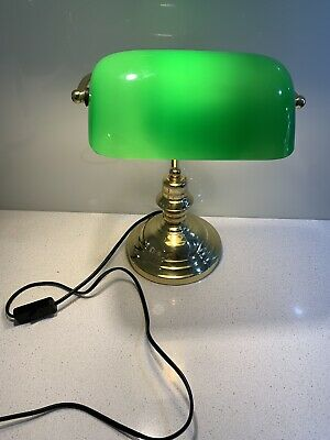 Vintage Style Brass & Green Glass Banker's Desk Table Lamp