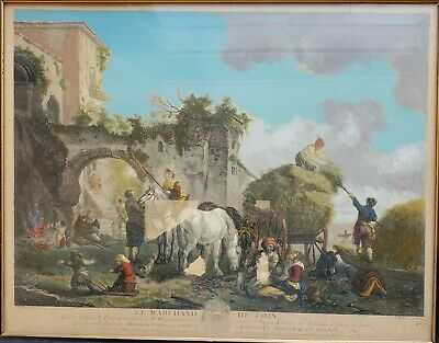 Old Master hand-colored engraving of Wouwermans 'Le Marchand de Foin' 1741
