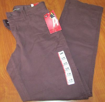 New Lee Womens Relaxed Fit Straight Leg Stretch Black Forest Pants 6 Medium