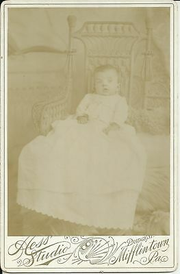 Old Antique Cabinet Card Photo Of Baby Girl By Hess Studio Mifflintown Pa