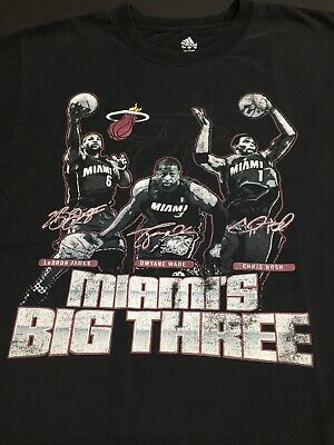 "Miami Heat Lebron James Dwyane Wade & Bosh Big 3 Shirt Adidas Sz Large ""RARE"""