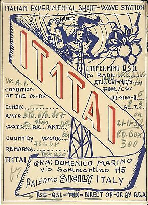 Old Vintage It1Tai Sicily Italy Amateur Radio Qsl Card