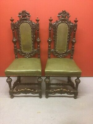Antique Oak Carved Hall Chairs Sn-428a