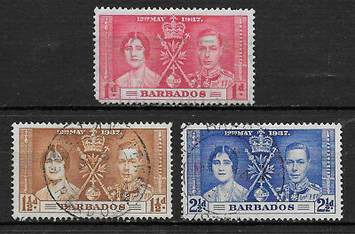 Barbados , Coronation Issue,1937, George Vi & Elizabeth , Set Of 3 , Perf , Used