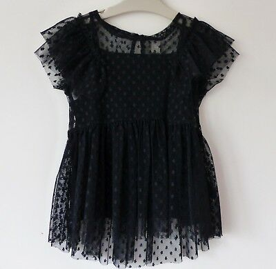 BNWT Girls Stunning Black Short-Sleeved Top with Net Overlay, 7 yrs, Brand New