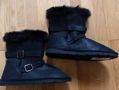 BN M&S Girls Black Suede and Faux Fur Biker Style Winter Boots, Size UK 4, New!