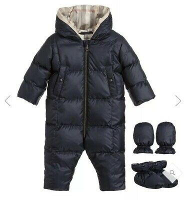 BURBERRY baby Blue Snowsuit NWT NEW 6m Down