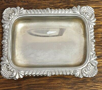 antique silver plate small CALING CARD TRAY