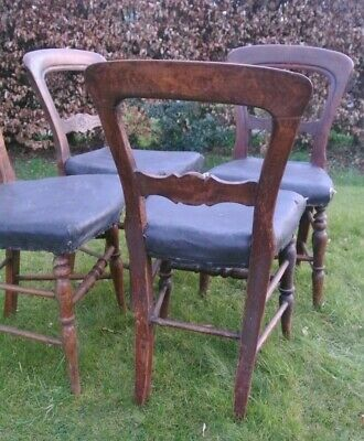4 Edwardian Walnut Dinning Chairs for Restoration - Can deliver locally