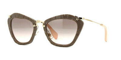 bc5327cfa857 New Miu Miu MU10NS USY4K0 Beige Plastic Cat-Eye Sunglasses Grey Gradient  Lens