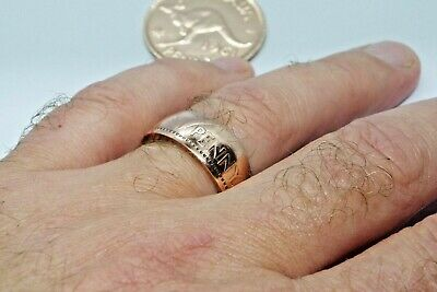 Australian Penny Coin Ring Handmade Made In Your Size Hipster Fat Tyre Look