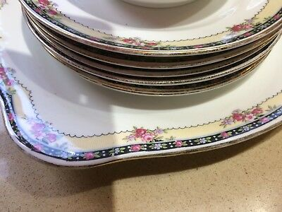 Beautiful Vintage High Tea Set Cake Plate 6 Small Plates Large Bowl Cream Sugar
