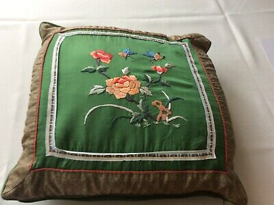 Vintage Chinese Oriental Hand Embroidered Silk Cushion