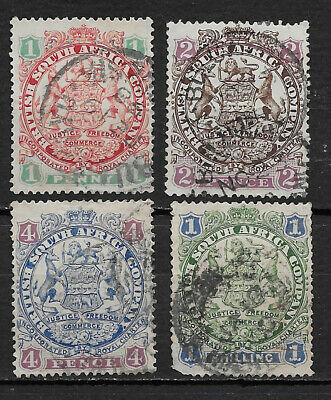BRITISH SOUTH AFRICA , RHODESIA ,1896 , NO's. 27/33 , SET OF 4  STAMPS , USED