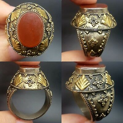 Unique rare Agate silver plated wonderful antique old ring