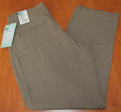 New Lee Womens Relaxed Fit Plain Front Straight Leg Coffee Kelley Pants 8 Short