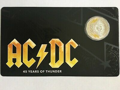 2018 AC/DC 50c UNC Coloured Carded Coin 45 Years Of Thunder