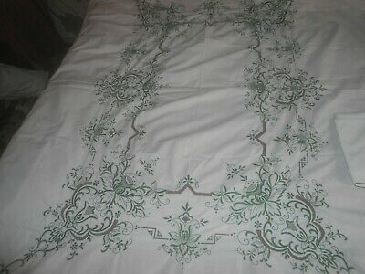 """Very Pretty White Cotton Embroidered/open Work Tablecloth 84"""" X 66"""" & 8 Napkins"""
