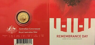 2018 Remembrance Day Armistice Centenary $2 'c' Mintmark In Official Card