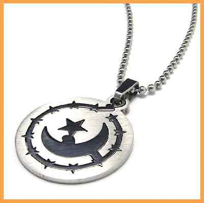 Romantic 316L Stainless Steel Moonlight Express Pendant Womens Mens Necklace