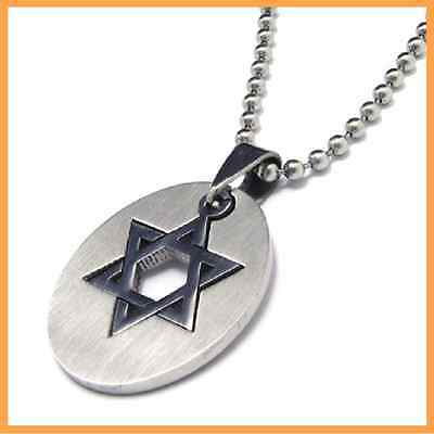 Fashion 316L Stainless Steel Hexagram Round Pendant Pendant Womens Mens Necklace