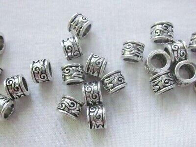 10 Antique Silver Coloured 6mm x 8mm Large Hole Spacer Beads 4.5mm Hole #3719
