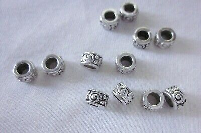 10 Antique Silver Coloured 5mm x 7mm Large Hole Spacer Beads 4.5mm Hole #2673