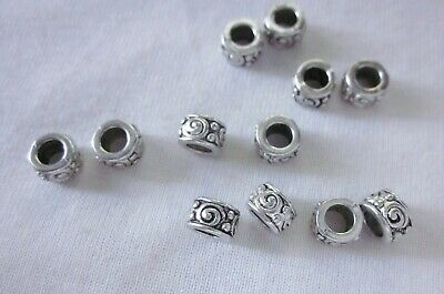 10 Antique Silver Coloured 5mmx7mm Large Hole Spacer Beads #2673 Jewellery Craft
