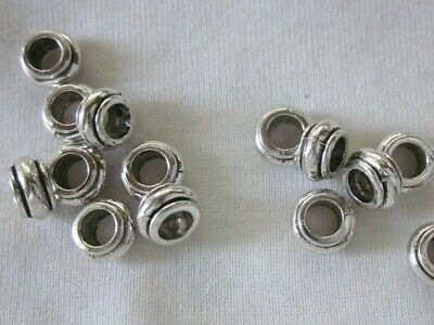 10 Antique Silver Coloured 5mm x 9mm Large Hole Bead Spacers #3086 Beading Craft