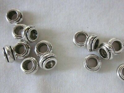 10 Antique Silver Coloured 5mmx9mm Large Hole Bead Spacers #3086 Jewellery Craft