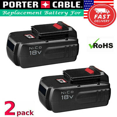 2-Pack PC18B for Porter Cable PCC489N PC188 PC18BLEX PC18SS 18V NiCD 2.0 Battery