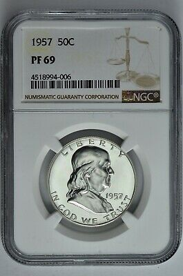 1957 50c Silver Proof Franklin Half Dollar NGC PF 69