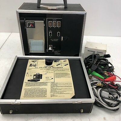 Vintage AMPROBE AC Voltmeter Recorder 986750 in Case Tested Working