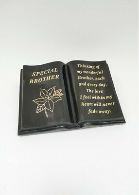 BROTHER Black & Gold Lily Memorial Open Book Grave Ornament Remembrance Gift