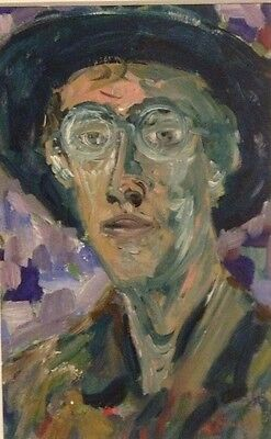 Vintage Portrait Painting Signed Facey ? Illegible Man Hat with Glasses Framed