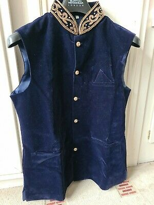 Mens asian wedding waistcoat navy velvet with gold embroidery on neck