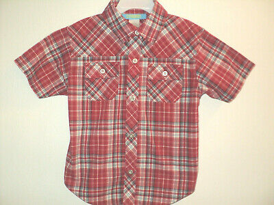Gymboree Boys Dress Shirt Size 4 Short Sleeves Red & Blue Plaid Front Buttoned