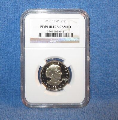 "1981-S Type 2 Flat-Clear ""S"" Proof Susan B. Anthony dollar. NGC PF69 ULTRA CAMEO"
