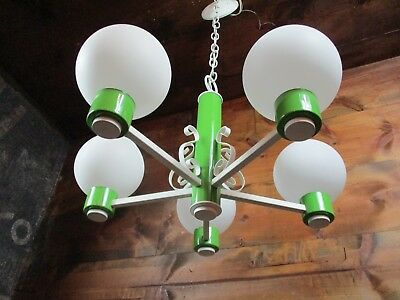 RARE NOS Mid Century Modern Green Ceiling Light Fixture Retro Atomic Space
