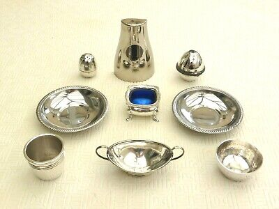 9 x SILVER PLATED DISHES, EGG CUP, PINCH POTS, SALT & PEPPER POTS  1440596/599